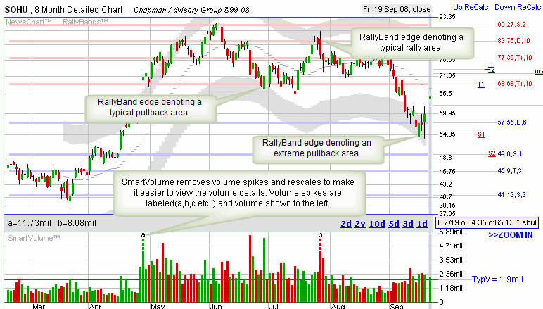 Smart Volume and Rally Band chart indicators
